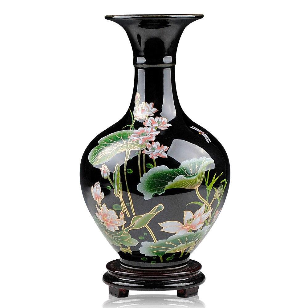 Jingdezhen Bruscamente Esmalte Florero De Cer Mica Negro Lotus  -> Spot De Parede Para Sala