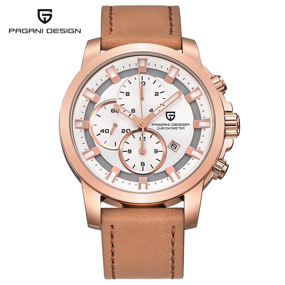 Relogio Masculino PAGANI DESIGN Gold Watch Men Waterproof Military Chronograph Sport Quartz Wrist Watch Mens Clock Leather Saat все цены
