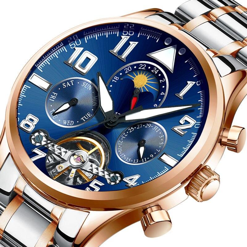 HAIQIN Men s Mechanical Watches Automatic Watch Men Tourbillon Moon Phase Wrist Watches Men Waterproof Luxury