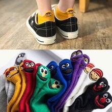 Women Socks Kawaii Embroidered Expression Happy Fashion Ankle Funny Socks Women short Cotton harajuku art cute socks Summer цены
