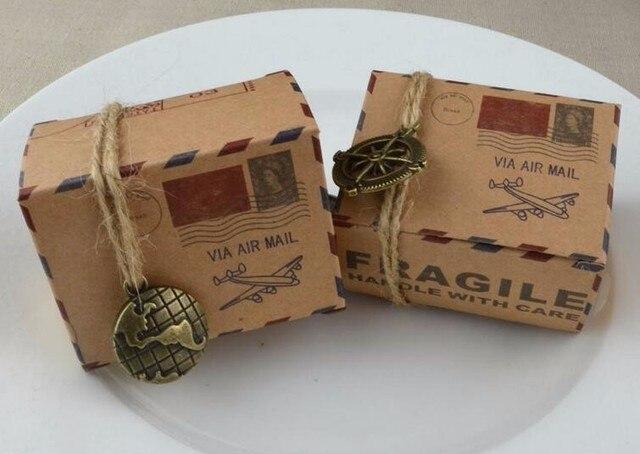 1000pcs Lot Fedex Fast Free Shipping Creative Style Kraft Candy Box Airmail Paper Wedding Chocolate