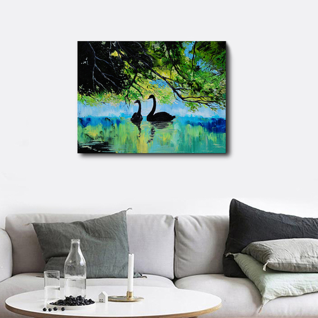 Landscapes River Duck Branch Frameless Creative Artworks Scene Canvas Print Oil Painting Poster Living Room Unique Gifts On Wall