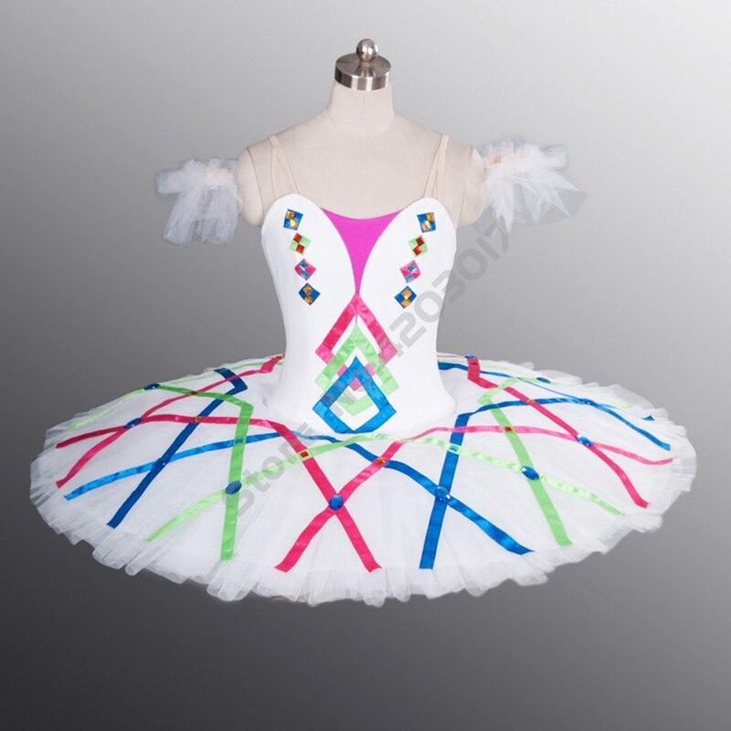 Femmes adultes couleur ruban cygne robe professionnel Ballet Tutus filles Ballet robe Performance scène ballerine jupe bouffante B1100