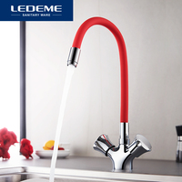 LEDEME Silica Gel Nose Any Direction Rotating Kitchen Faucet Cold and Hot Water Mixer Torneira Cozinha Double Handle Tap L4022