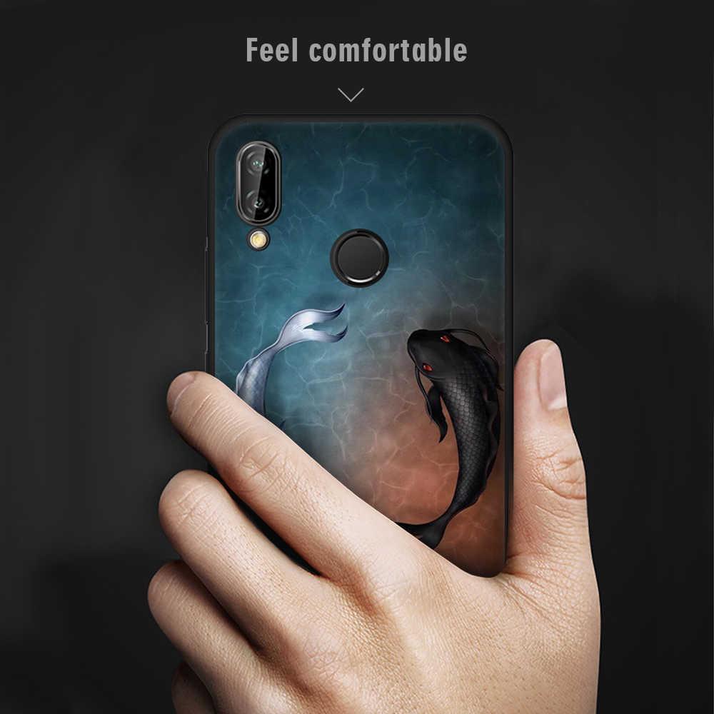 Ekdme Mềm Mại Ốp Lưng Capa Cho Huawei P20 Plus P20 P10 Lite Giao Phối 10 Lite P9 P8 2017 Không Gian Người Mèo và Hoàng Thái Cực Cá Đen Vỏ Bao Da