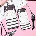 Phone case para iphone 6 6 s 6 plus 6 splus 7 7 plus bonito dos desenhos animados listrado preto cat e hipopótamo macio tpu telefone Shell [sem Corda, Nenhum Anel]