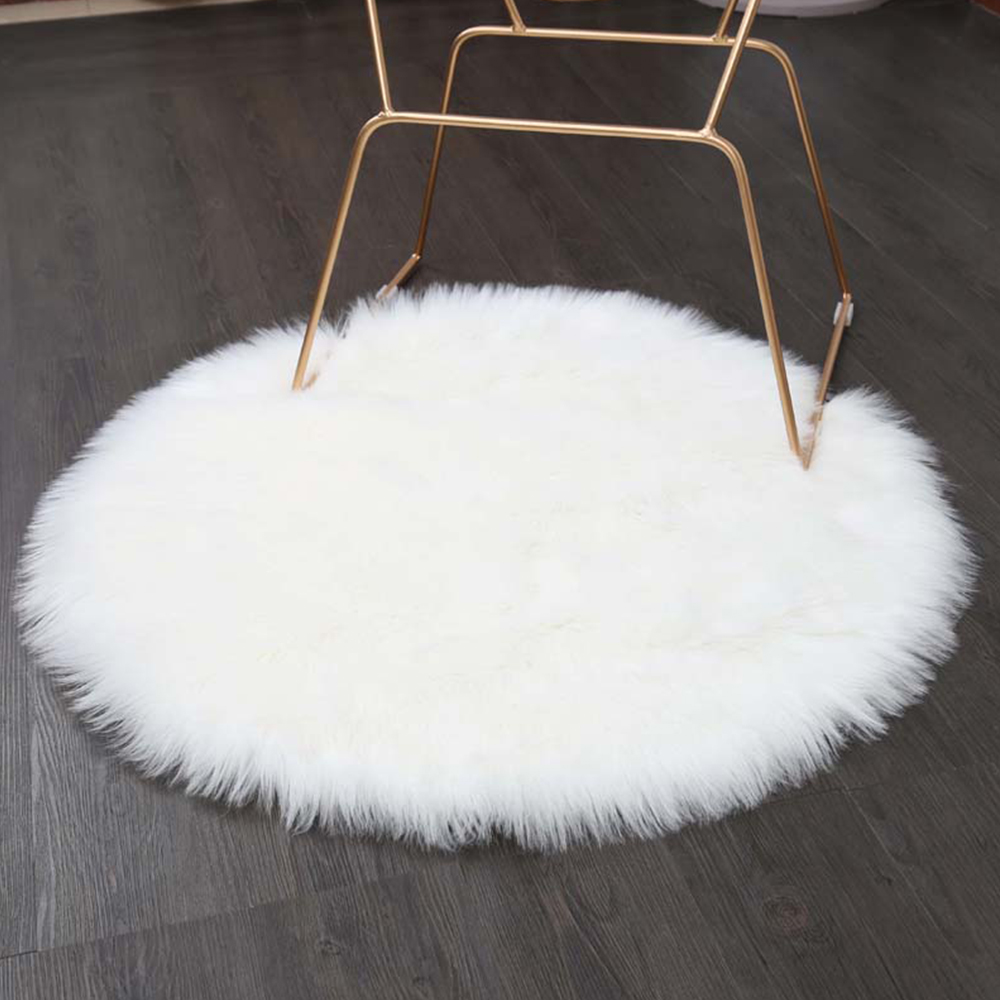 Rayuan Luxury Round White Sheepskin Hairy Carpet Faux Mat