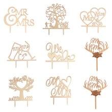 Mr& Mrs Топпер для торта DIY свадебный Топпер для торта лазерная резка деревянные буквы украшения для свадебного торта сувениры принадлежности Подарки для помолвки