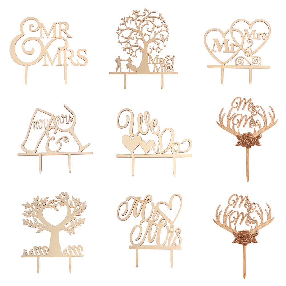 Mr & Mrs Cake Topper DIY Wedding Cake Topper Laser Cut Wood letters Wedding Cake Decorations Favors Supplies Engagement Gifts