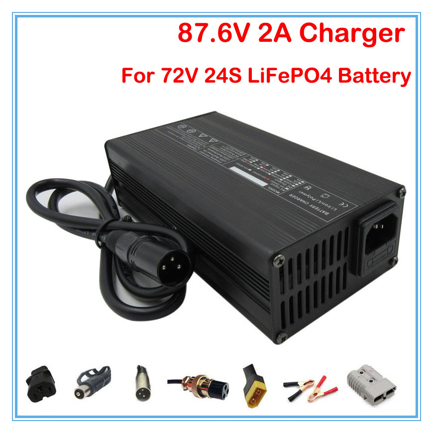 180W 72V 2A LiFePO4 Charger Ouput 87 6V 2A charger with Fan Used for 72V 24S
