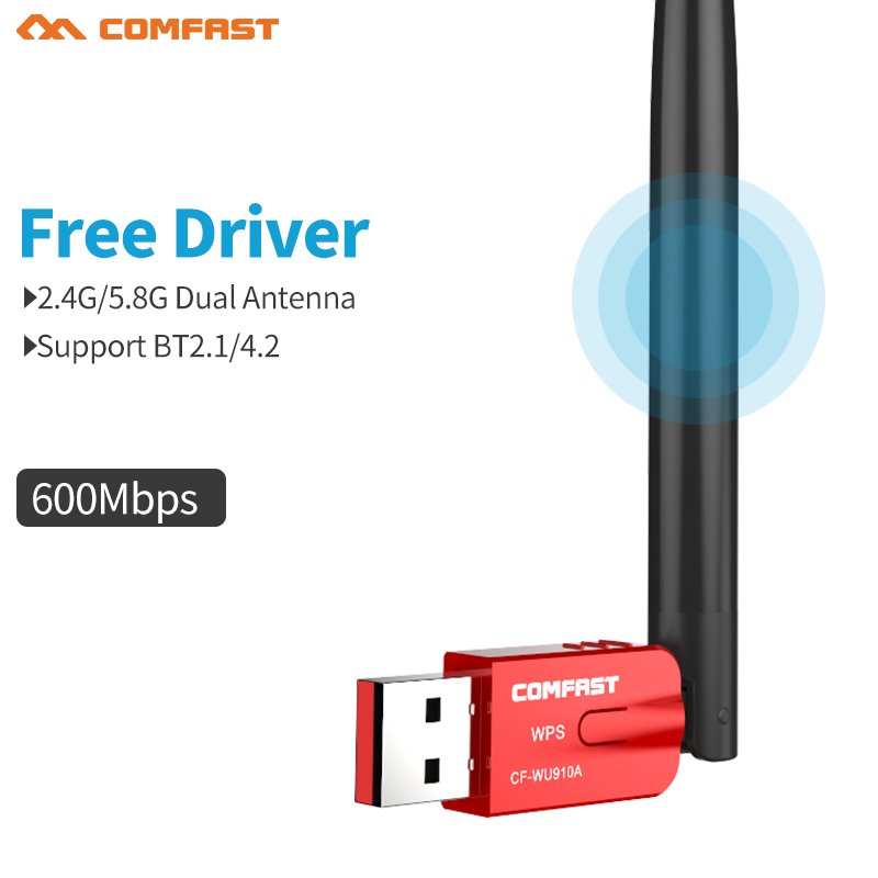 New Dual Band 600Mbps Free driver Wireless Usb 802.11n WIFI Bluetooth 4.0 Adapter 5dbi Antenna 5.8G Network Card For WIndows