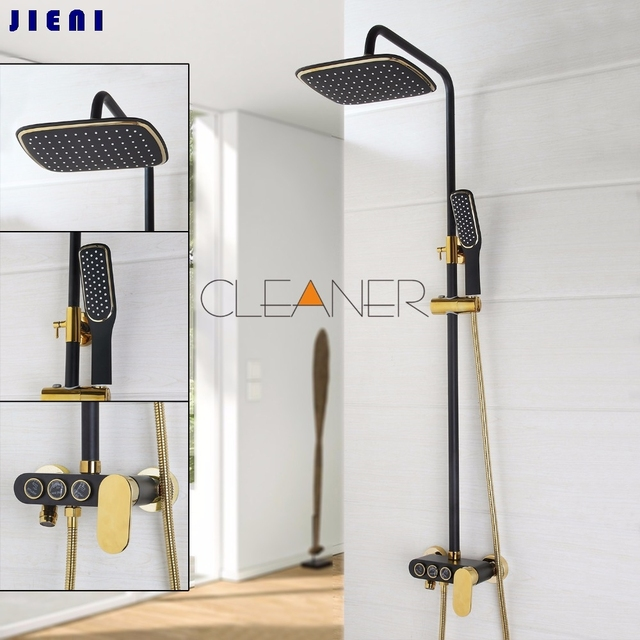 YANKSMART Black Gold plated Finish Bathroom Shower Set Rain Shower ...