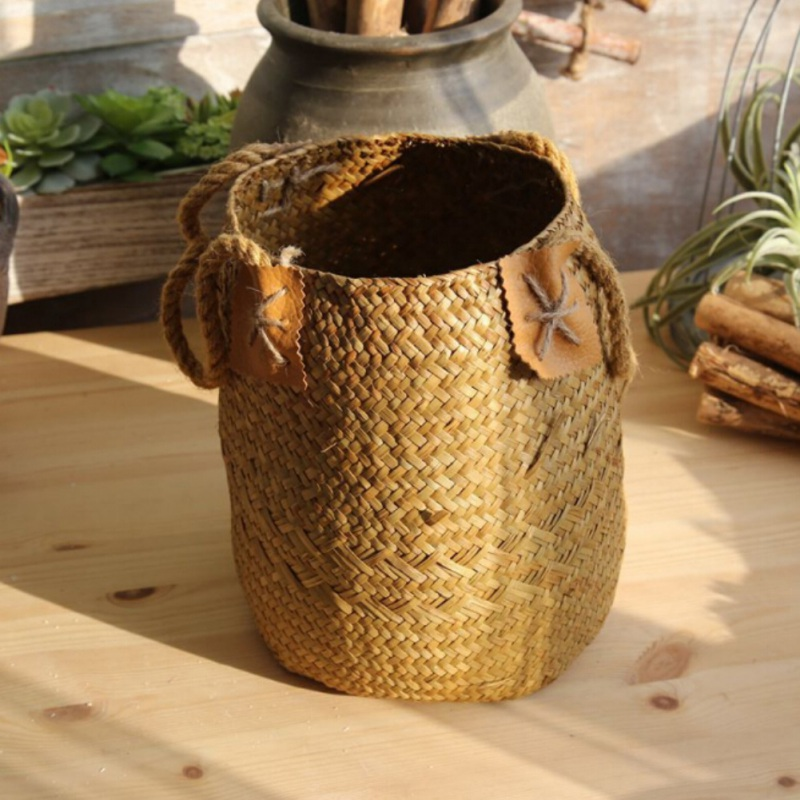 Foldable Seagrass Laundry Basket Storage Baskets 5