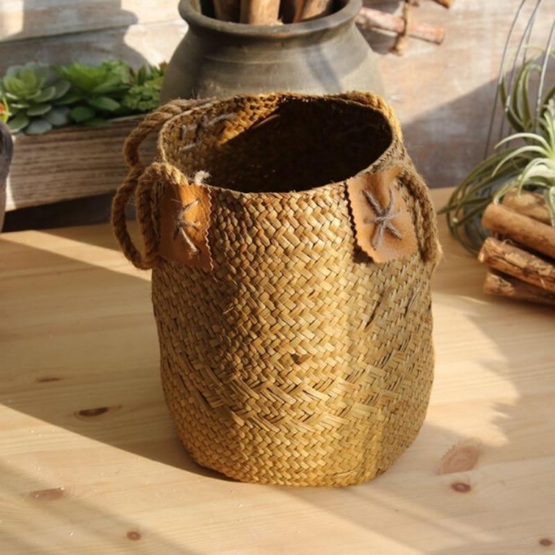 Foldable Seagrass Laundry Basket Storage Baskets 5