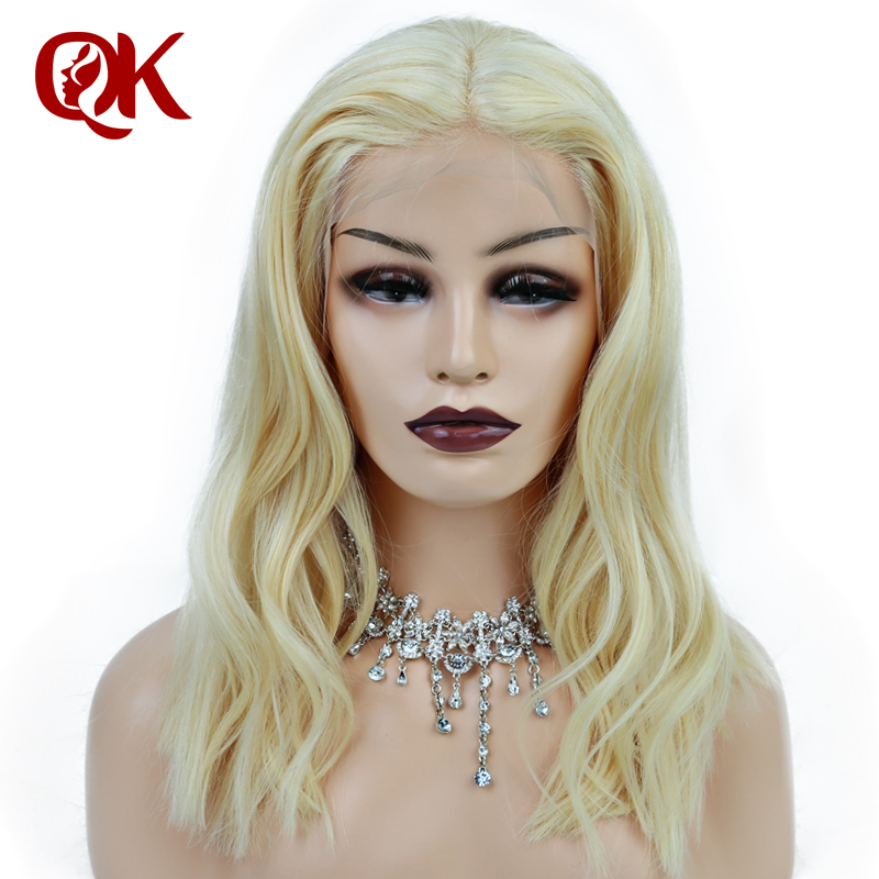 Queenking Hair Lace Front Wig 180 Platinum Blonde 613 Bob Wig Silky