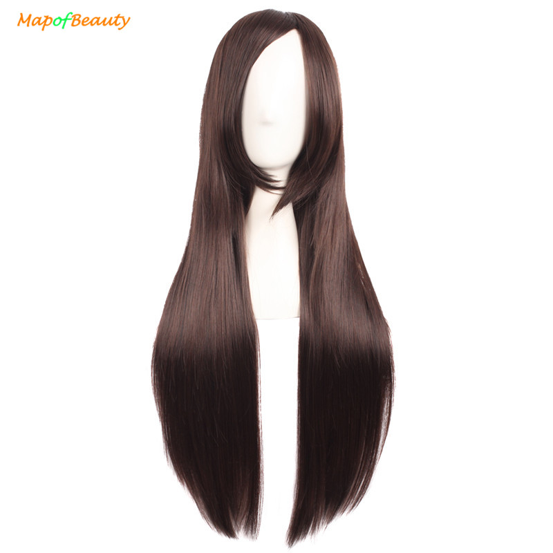 Synthetic None-lacewigs Mapofbeauty Long Loose Wave Light Dark Brown Black 75cm Women Wigs Cosplay Ladys Heat Resistant Synthetic Full Hair Always Buy Good