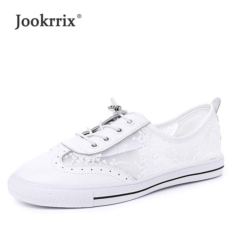 Jookrrix Summer Girl Fashion Real Leather Lady Casual White Shoes Embroidered Women Mesh Sneaker Leisure Flats Shoe Breathable