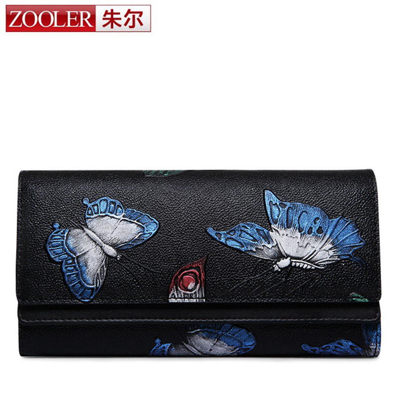 ZOOLER Fashion Genuine Leather Women Long Purse Flower Color Butterfly Printing Female Cover Wallet Money Clip Woman Cards Purse butterfly fish women genuine leather purse red color fashion lady zipper long wallet