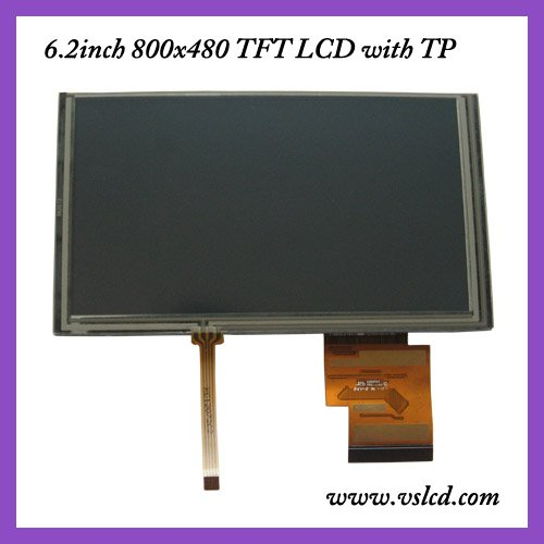 6.2inch tft HSD062IDW1 with touch panel 800*480 led blacklight for GPS tft lcd screen  6.2tft with touch screen