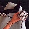 Новая Мода Ручной Горный Хрусталь Высокие Каблуки Острым Носом Скольжения На Женщин Насосы Свадебные Туфли Женщина Sapato Feminino Стилет