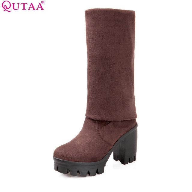 Qutaa/2017 г. Классическая женская зимняя обувь на высоком квадратном каблуке женские ботфорты выше колена Женские мото-ботинки из полиуретановой кожи размеры 34–43