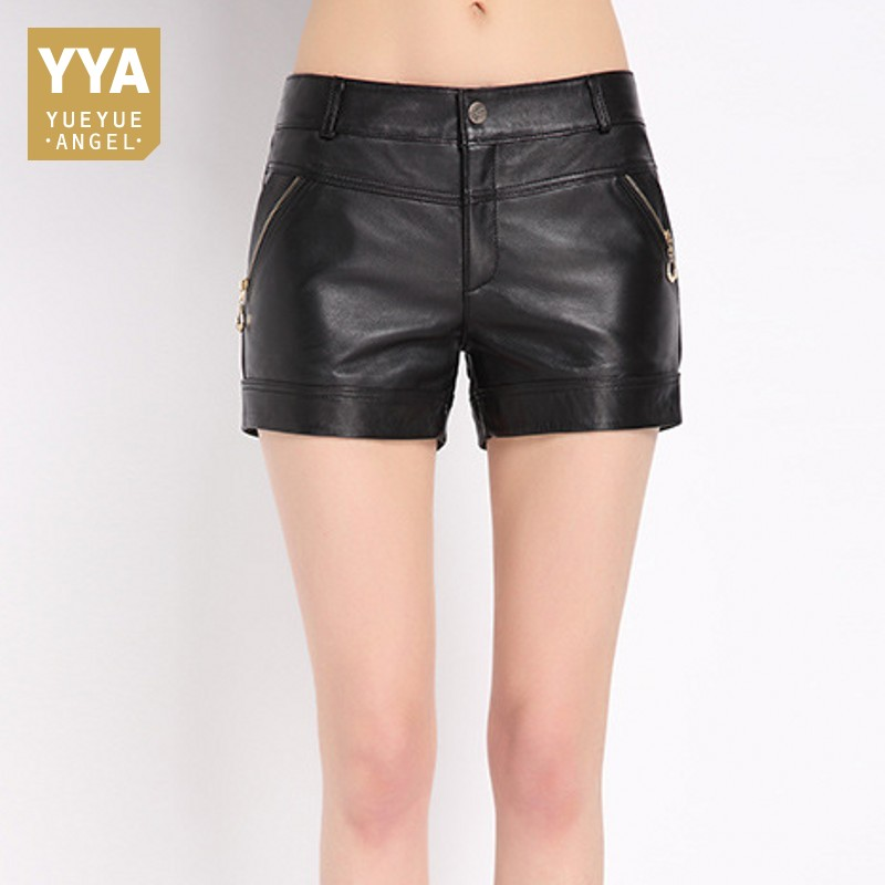 Office Ladies Sheepskin Leather Shorts Summer 2020 New Hot Fashion Streetwear High Waist Mini Short Womens Skinny Zipper Trouser