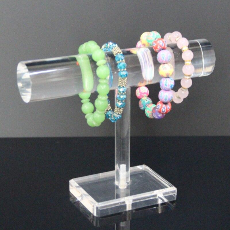 Transparent Acrylic T-Bar Jewelry Rack Bracelet Necklace Stand Organizer Holder Display genboli t bar bracelet display jewelry stand necklace decorations wrist watch holder stand black jewelry organizer