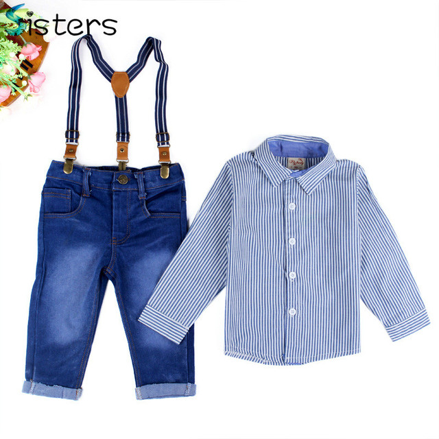2017 Boys Clothes Suit Gentleman Autumn long-sleeved striped shirt + Strap jeans 2pcs/set baby kids children's suit denim pants
