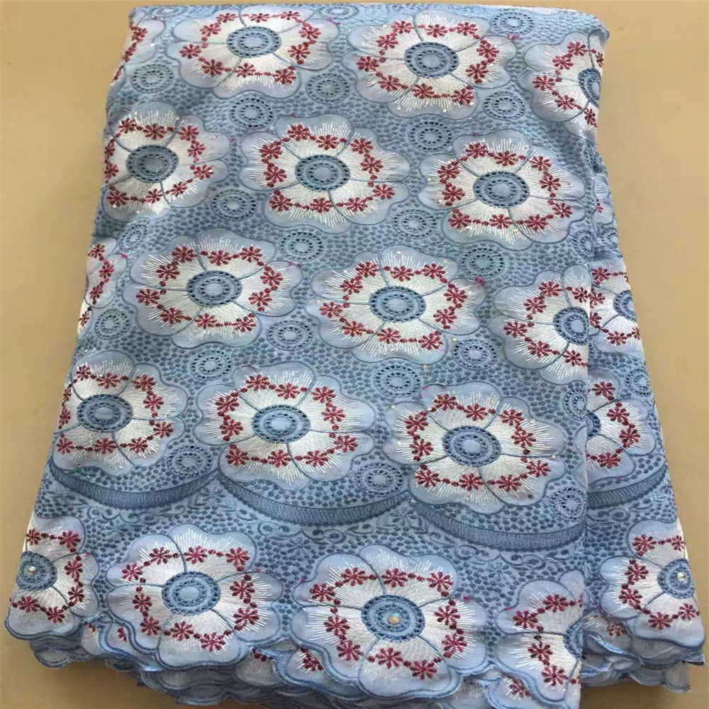 Heavy Quality Nigerian African Swiss Embroidery Rhinestones Cotton Voile Lace Fabric X439-06Heavy Quality Nigerian African Swiss Embroidery Rhinestones Cotton Voile Lace Fabric X439-06