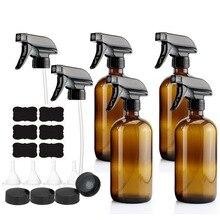 4 Pack 500 Ml Amber Glas Spray Fles Met Trekker Spuit Voor Essentiële Oliën Reiniging Aromatherapie 16 Oz Lege Navulbare bruin