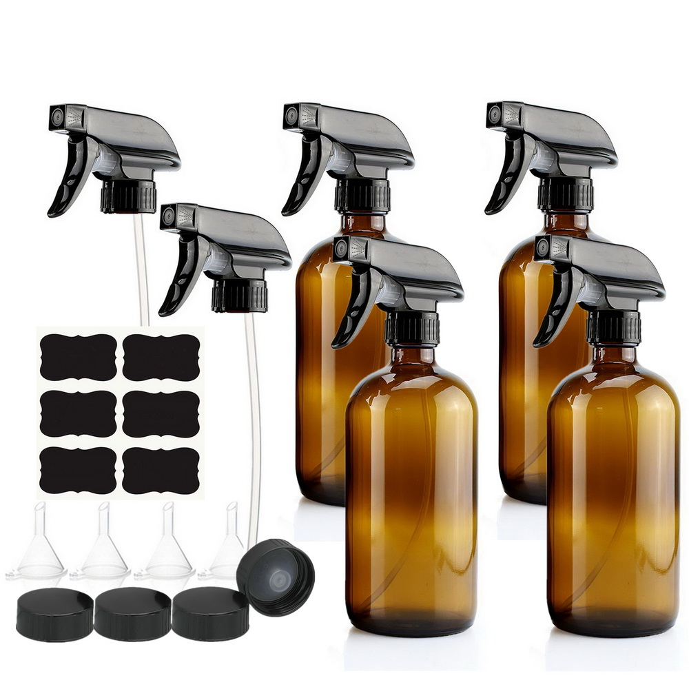 4 Pack 500ml Amber Glass Spray Bottle with Trigger Sprayer for Essential Oils Cleaning Aromatherapy 16 Oz Empty Refillable Brown