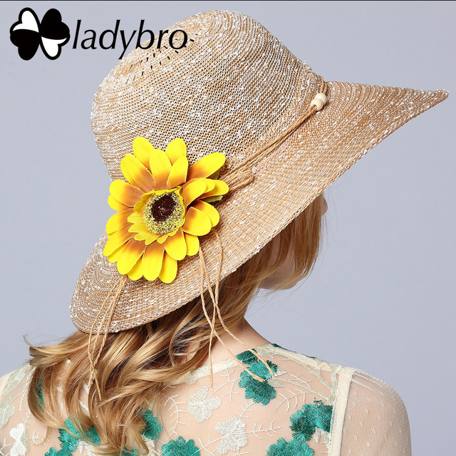 f86b86425b7 Ladybro Summer Sunflower Sun Hat Beach Women Wide Brim Hat Casual Cap Female  Fedora Brand Fashion