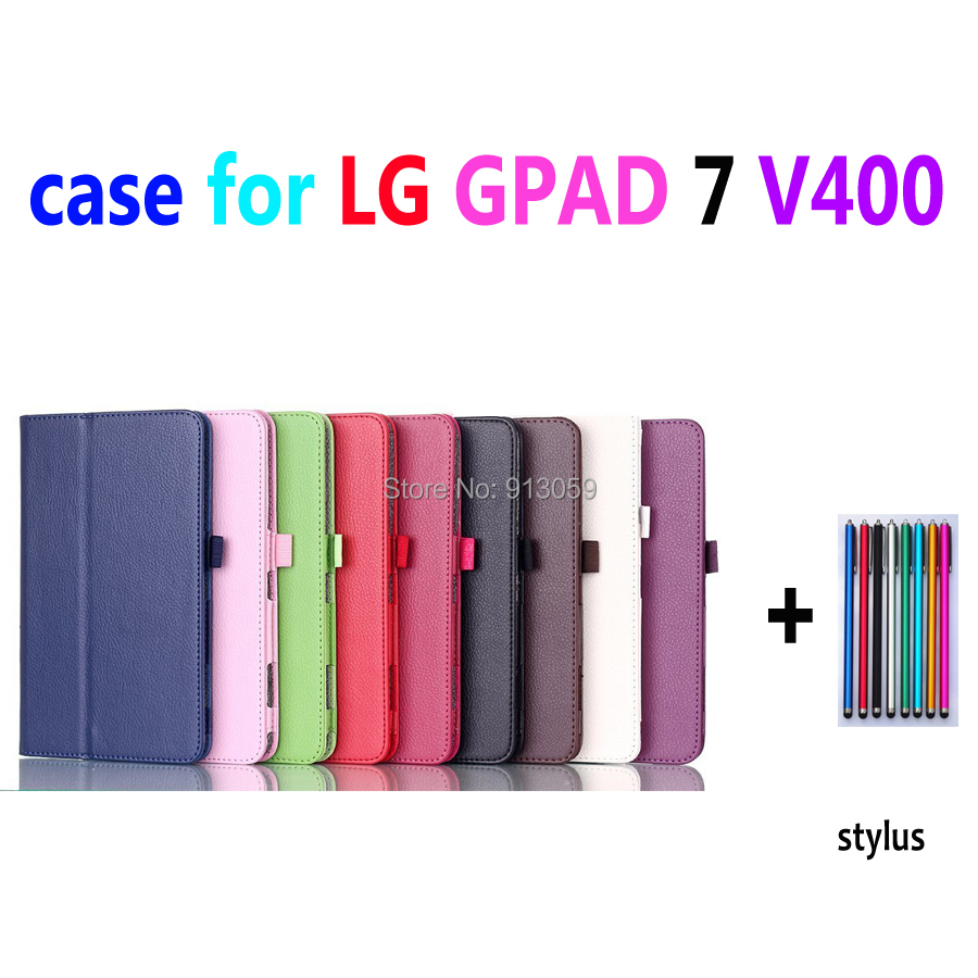 pu leather folio folded smart case for LG G PAD 7.0 tablet LG v400 tablet cover case+screen protector+ stylus pen