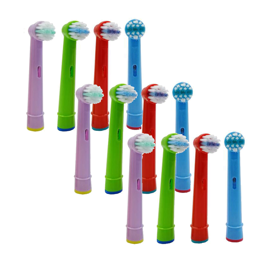 12pcs Replacement Children kids Brush Heads for Oral B D19 OC18 D811 D9525 D9511 D25 D30 Princess /Car /Mickey Tooth Brush Heads image