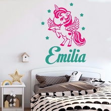 Kidsroom Nursery Wall Sticker Unicorn Pony Girl Custom Name Poster Mural Vinyl Art Removeable Decals Decor Decoration LY1173