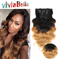 Clip In Extensions Human Hair Ombre Brazilian Body Wave Clip Ins 7pcs/set T1B/27 Ombre Dark Roots Clip In Human Hair Extensions