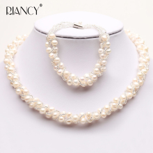 3 Colors Natural Freshwater pearl Jewelry Sets Real Necklace Bracelet for women