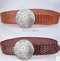 Free shipping 2015 new arrival shield metal buckle belts fashion ladies dress waist belt exqusite women platied belt