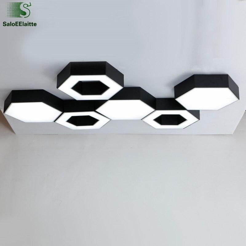 Modern Geometric Hexagon Led luminaria Chandelier Matte Black White Metal Ceiling Chandelier Diy Style Indoor Lighting