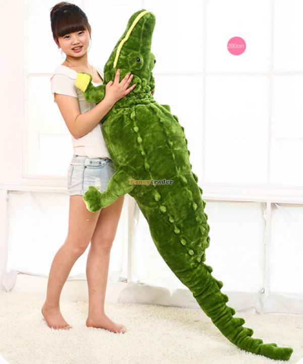 Fancytrader 79'' / 200cm Jumbo Plush Cute Soft Stuffed Simulated Crocodile Toy, Great Gift For Kids, Free Shipping FT50167 2016 toy baralho mr fuzzy magica worm trick twisty plush wiggle stuffed animals street toy for kids gift 21cm