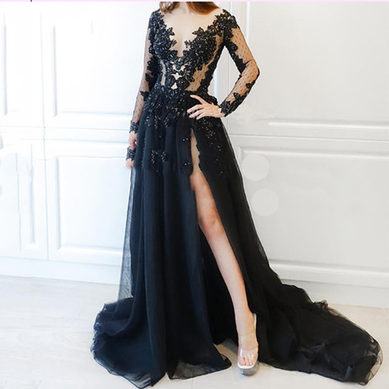 Navy Blue Muslim   Evening     Dresses   2019 A-line Long Sleeves Tulle Lace Beaded Islamic Dubai Saudi Arabic Long Formal   Evening   Gown