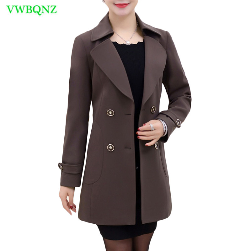 Spring Autumn New Windbreaker Coat Women Fashion Plus size   Trench   Coat Middle-aged women Loose Double-breasted Outerwear 5XL 291