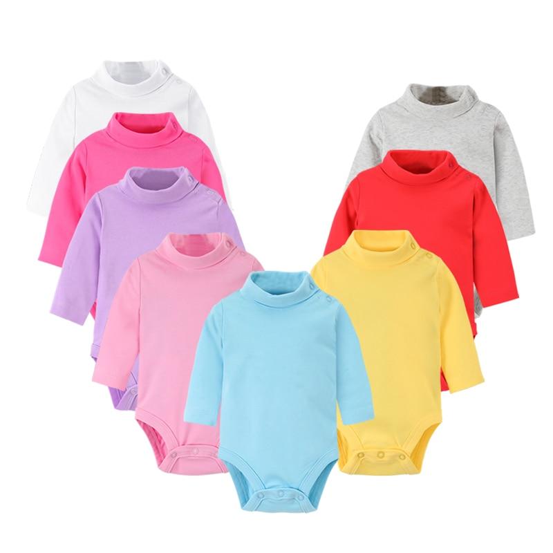 Baby Girls Boy Bodysuits Cotton Soft Newborn Solid Turtleneck Shirts Clothes PJS