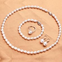 Набор для женщин из натурального пресноводного жемчуга, высокое качество, ожерелье+ браслет+ серьги+ кольцо, свадебные ювелирные изделия