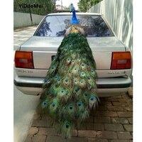 Искусственный птица павлин модель большой 150 см Красивые перья павлина ремесло, опора, украшения дома подарок p1601