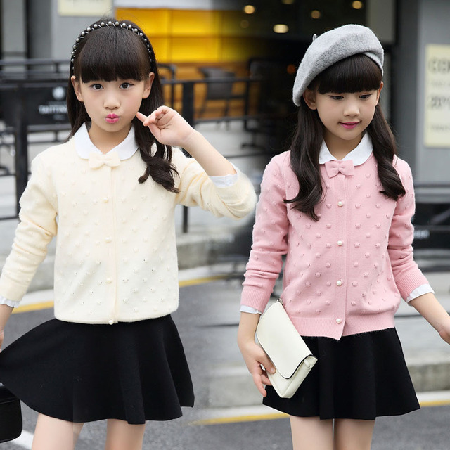 Girls Cardigan Cotton Knitted Sweaters For Girls Clothing Children Outerwear 2 4 6 8 10 12 Years Kids Clothes Top School Uniform