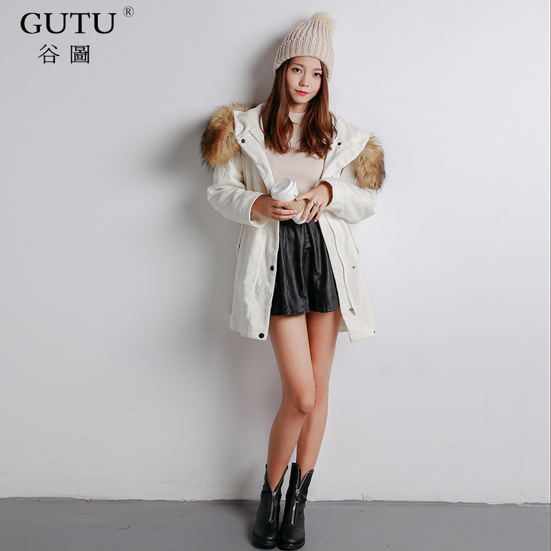 [GUTU0] 2017 Autumn And Winter New Korean Tide Solid Color Hooded Fur Collar Long Sleeves Casual Loose Coat Woman EA26600 купить