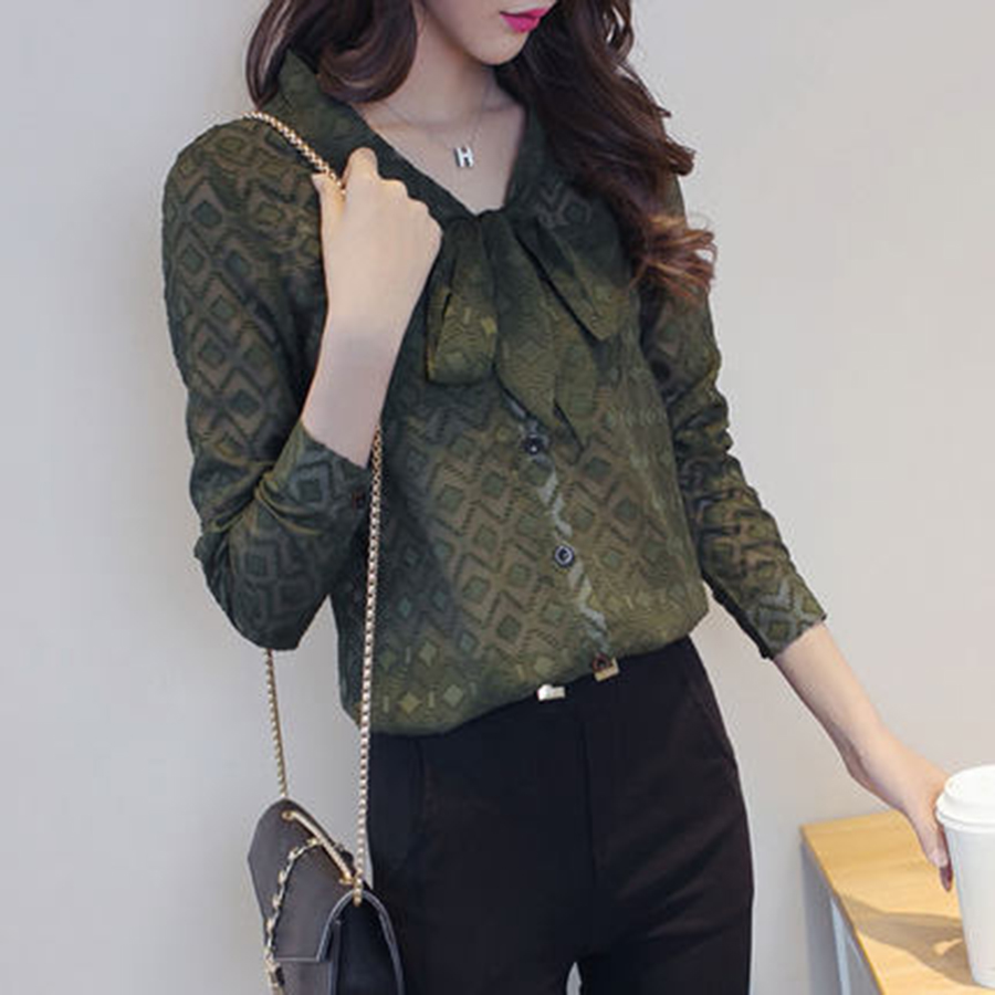 Womens Tops Large Chiffon Blouse Long Sleeve Sexy Blouse Elegant ClothingPlus Size Blusas 2017 Mujer Ladies Lace Tops 60P0038