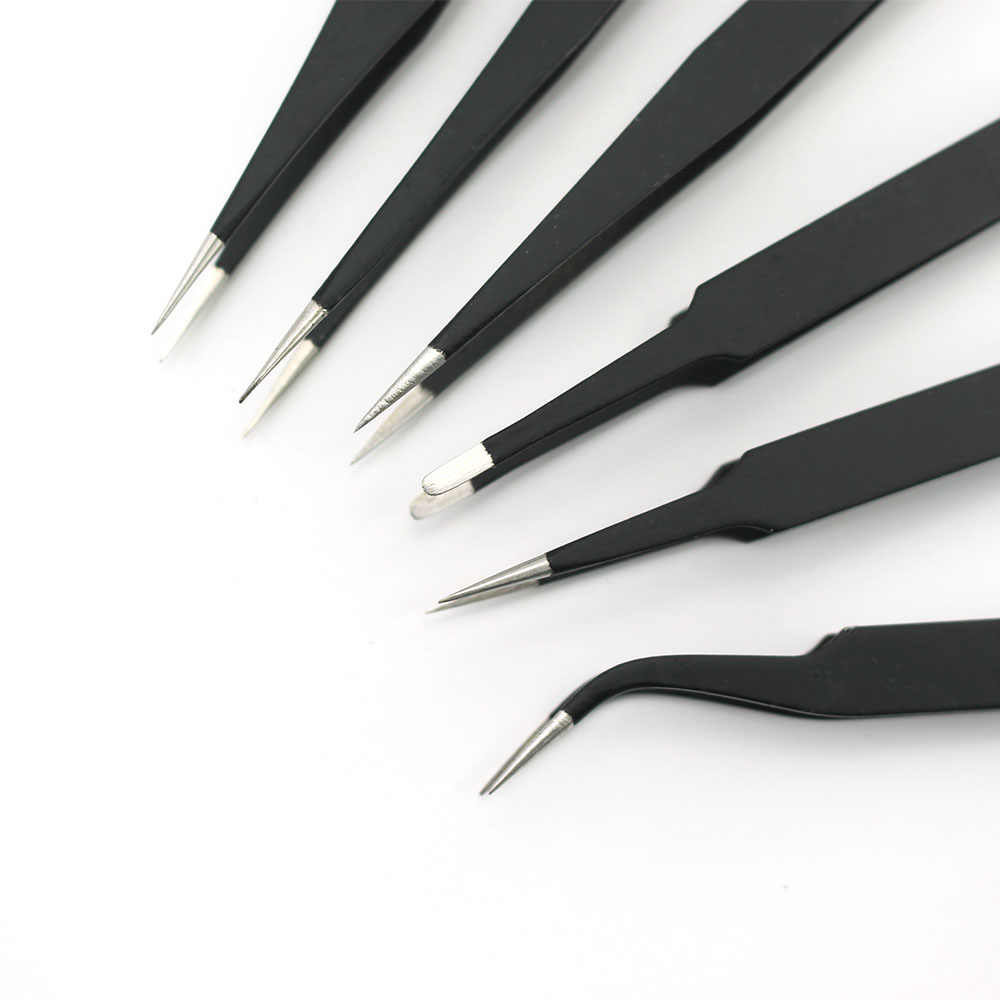 Антистатические изогнутые прямые черные пинцеты для ресниц дизайн ногтей акриловый гель сбор инструмент Стразы драгоценные камни декор