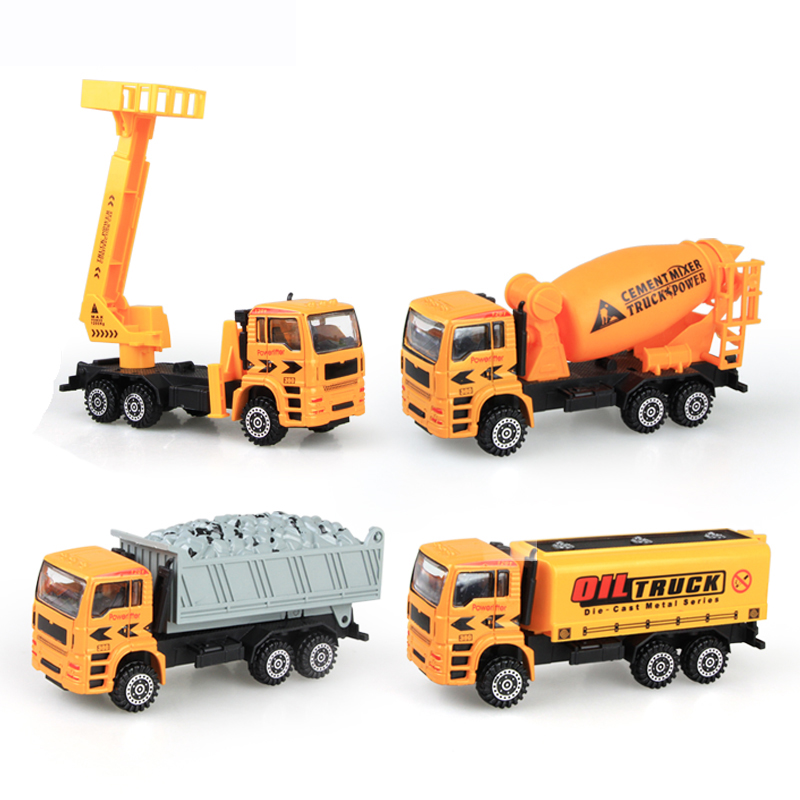 4 Pcs Engineering Construction Vehicle Concrete Mixing Dumping Truck Oil Tank Model Clas ...